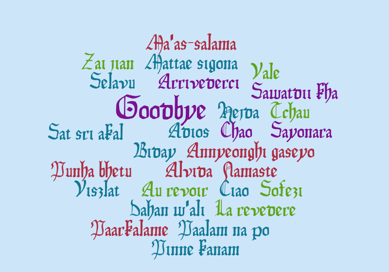 Goodbye in different languages 27